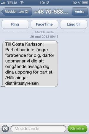 Gösta Karlsson fick beskedet via ett sms
