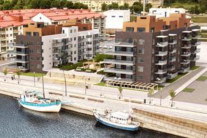 Så här ska de två husen som blir brf Haga Strand  se ut. Här ska markarbeten påbörjas i november. Under den upphöjda innergården blir det garage.