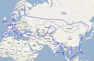 Det här är den preliminära resrutten för tjejerna. Det stora äventyret går genom Ryssland och Europa, Mellanöstern och Sydostasien.