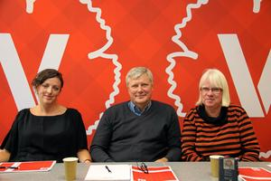 Vänstern presenterar välfärdsrapport i Västerås. Från v Tamara Spiric, kommunalråd Umeå, Lars Ohly partiledare, Eva Olofsson, riksdagsledamot socialförsäkringsutskottet