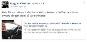 Roger Karlsson, kassör i SD Södra Dalarna och tvåa på SD:s lista i Säters kommun, skriver på sin FB-sida.