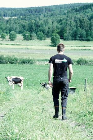 Andreas Hellmont är en så kallad månskensbonde – han kör skogsmaskin på heltid och har lantbruk vid sidan om.