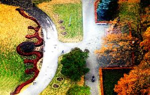 Stadtsparken i Riga från ovan. Härliga höstfärger.