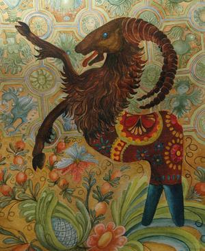 Bockahästen målad av Svabensverkskonstnären Marianne Ling. Framdelen är en hälsingebock och bakdelen en dalahäst.