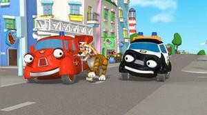 Brandbilen Bella och Polisbilen Palle är huvudpersonerna i den animerade serien