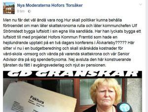 Moderaternas facebookinlägg.