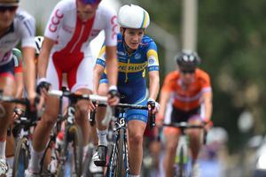 Emma Johansson deltar i  damernas linjelopp under VM i cykel den 26 september 2015 i Richmond, USA.
