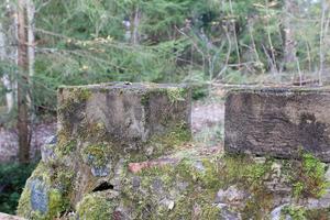 En numera lite mossig mur omgärdar borgen.