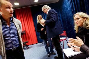 Så här såg det ut vid audition i höstas. Jan Löfgren, Agneta Borgh, Orwar Eriksson  och Monica Bergander ingick i juryn. Jan Löfgren, konstnärlig ledare på Estrad Norr, kommer själv att göra Taminos roll i Trollflöjten på Arnljotlägden i sommar.Foto: Håkan Luthman