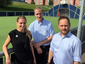 Liza-Maria Norlin (KD), Stefan Falk (L) och Jörgen Berglund (M) säger nej till en ny arena i Sundsvall.