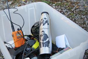 Den här personliga termosen fick Andreas Söderkvist i present av sin sambo. Nu är den en självklar del av packningen.