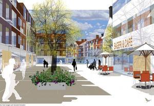 Konsortiet Roslagens famn vill krama fram 315 bostäder, butiker, restauranger och ett underjordiskt parkeringsgarage. Dessutom kommer det att göras en ny inbyggd bussterminal om planerna sätts i verket. Så här kan torget vid bussterminalen komma att se ut.