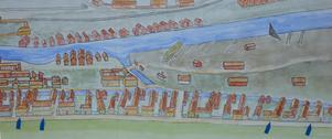 Störst i stan. David Runer hade det största huset i fiskarstan på Islandet och tre av gårdarna var firmans arbetarbostäder. (Rekonstruktion av författaren).