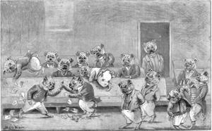 Louis Wain hade först tänkt sig att bygga sin karrär på att teckna hundar. I verket