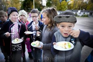 Linnea Holmqvist, Frida Svensk, Axel Persson, Ella Andersson och Filip Jacobsen i klass två var med och firade skolans miljöcertifikat.