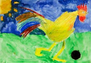 Olle Göransson, 10 år, Brunflo. En färgglad tupp.