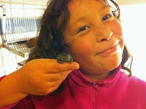 Michele, 8 år, med paddan från salladen.