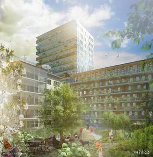 Så här tänker sig White arkitekter att gården till äldre-, senior- och trygghetsboendena kan se ut. Med sina 15 våningar blir punkthuset Gävles högsta med sina 45 meter.