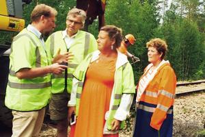 Otto Nilsson, Vd Inlandsbanan, visar arbetet med att byta slipers för Per Åsling, riksdagsledamot, Eva Hellstrand från Åre och Lena Olsson, Berg, alla centerpolitiker. Med fanns också Annika Myhr från partiet i Härjedalen.