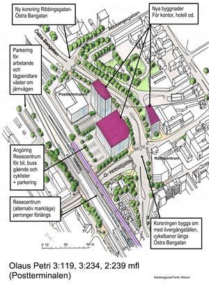Förtätad bebyggelse. I mitten syns de tre nya huskroppar som planeras vid nuvarande Postterminalen. Järnvägen och Resecentrum ses i bildens vänstra del.