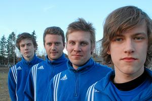 Fyra spelare ur Tärnsjö IF:s trupp 2011, från vänster: Kalle Karlsson, Nicklas Larsson, Joel Hedbom och Emil Sandberg. Foto: Niclas Bergwall
