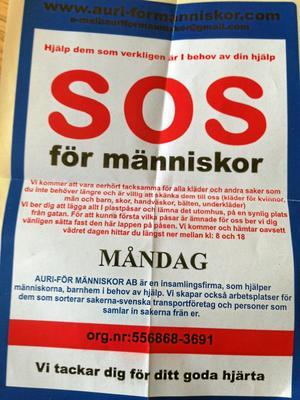 Utskick. Företaget Auri för människor AB ska på måndag samla in kläder på Bäckby och Skälby i Västerås, men Svensk insamlingskontroll varnar för företaget.
