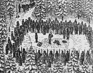 Illustration av spetsgård kring avrättningsplats (från Sven Normans hemsida, ur en artikel om Källbackens avrättningsplats i Häggsjö by, på Medelpadsgränsen mot Ångermanland)