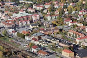 Flygbild över centrala Ljusdal.