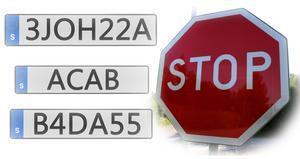 Personliga registreringsskyltar som stoppats av Transportstyrelsen. (Montage)