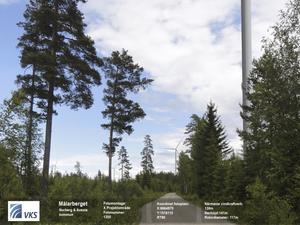 Vindpark. På måndag fattar Norbergs kommunfullmäktige beslut om ett yttrande över vindkraftssatsningen mellan Norberg och Avesta. Bilden är (ett något beskuret) fotomontage som enligt företaget VKS visar hur det skulle se ut inne i området med vindkraftverk.
