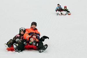 Familjen Marti njuter av vintern i sitt nya hemland. I täten pappa Peter med Joa-J'aime och Noëh-En.Ki. I bakgrunden mamma Daisy, Sally-Ashley och Bibi-Ann.