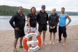Martin Pettersson, Camilla Malmling, Jonatan Bejmur, Amanda Fagerlund och Jakob Lundberg från Sjöhäng under onsdagen vid Tansenbadet.