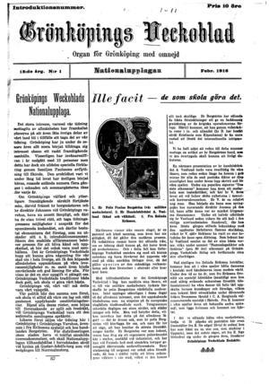 Grönköpings Veckoblad som den såg ut i februari 1916. Pressbild.