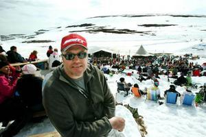 Pelle Norberg har arrangerat afterski på 1 000 meters höjd i 25 år. Bara en gång har han tvingats ställa in.