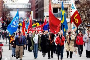 I centrum. Socialdemokraterna vill vara ledande parti och samarbeta brett. Bilden visar en förstamajdemonstration.