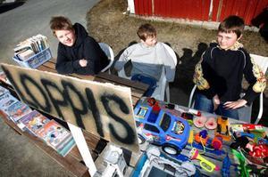 William Lundell, 10 år, och Allexander Lundell, 7 år och Lucas Eriksson, 10 år, har en egen loppis där de säljer leksaker, tidningar, böcker och filmer. De har öppet när solen skiner och de är lediga från skolan.