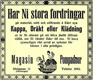 För damerna. Annons publicerad i NA 1 mars 1923.