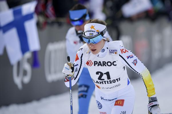 Ebba Andersson VM-debuterade på skiathlon i lördags.
