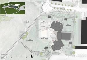 Den planerade fleravdelningsförskolan, de gråa byggnaderna, vid Bäck kommer att ligga bakom hälsocentralen i Edsbyn, den svarta byggnaden till höger.