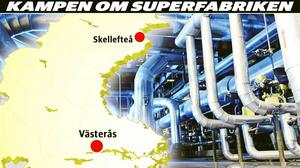 Northvolts batterifabrik ska placeras i Skellefteå eller Västerås.