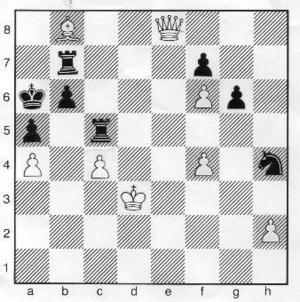 Vad spelade vit?Lösning:1. Db5+ Txb52. axb5 matt.MedelLättSvårbarn