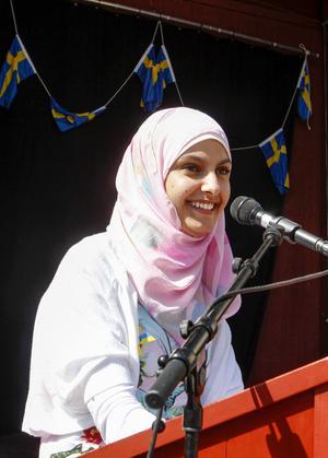 Shaymaa Alaw, som är ordförande för Ungdomsrådet i Östersunds kommun, höll tal på Jamtli. Ta vara på chanserna var ett av hennes budskap.