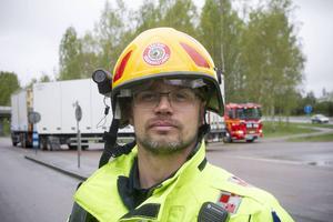 Thomas Fahlstedt, räddningsledare på plats.