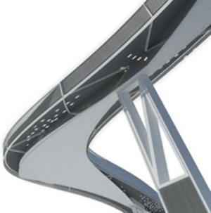 Gångbanan ska byggas i stål med inslag av trä. En teknik som används delvis i Kew Gardens i London. Men banan ska anpassas för snön med exempelvis perforeringar. Grafik: Färgfabriken