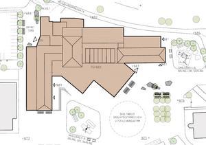 Alternativ 3: Alla röda tegelbyggnaderna behålls, byggs om och byggs ut – 160 miljoner kronor.