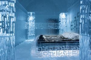 Deluxe-svit i det nya ishotellet. Lyxsviterna i Icehotel 365 har varit fullbelagda från starten.
