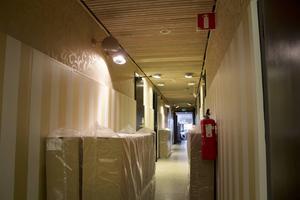 Tapeterna på övre delen av väggen hittade de på webben och beställde från Kina.
