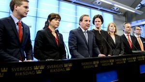 Presskonferensen i Sveriges riksdag avslutades nyss efter tillkännagivandet att en bred uppgörelse nåtts.