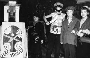 1958. Plåt-Nicklas populär i Arbrå. Vid ungdomslogen Julfacklans samkväm i Arbrå blev Plåt-Nicklas populäraste figuren vid kostymtävlingen. Som Plåt-Nicklas ses G. B. Asph. Sjörövare är J-E Eriksson och det gifta paret K. Eriksson och A.-L. Nilsson.