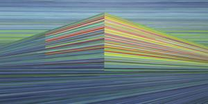 Magnus Alexandersson från Stockholm bygger i sitt måleri geometriska kroppar av horisontella linjer.